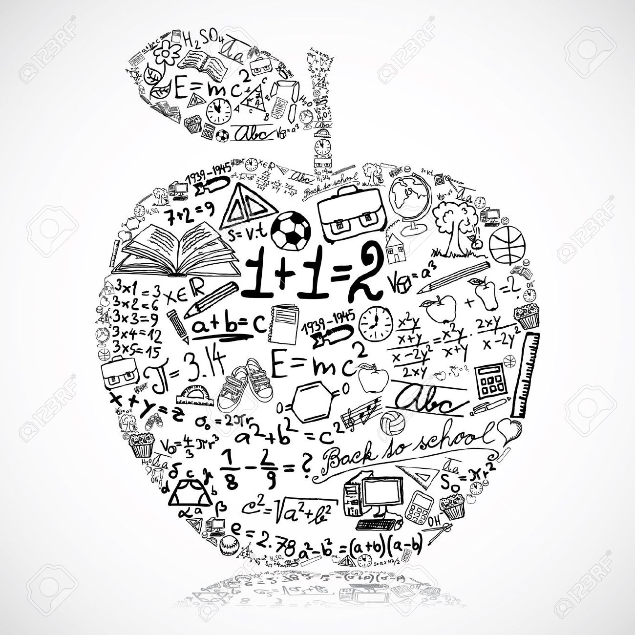 14823448 Apple Made Of School Symbols Stock Vector Math Mathematics Education